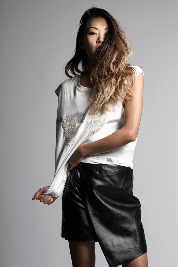 THP LEATHER WRAP SKIRT